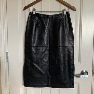 Vintage Danier Black Genuine Leather Pencil Skirt